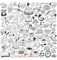 coffee and sweets - doodles vector image vector image