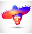 Colorful geometric skull in sombrero vector image vector image