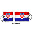 croatia or croatian flag pattern postage stamp vector image