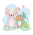 cute goat rabbit parrot and flowers cartoon vector image vector image