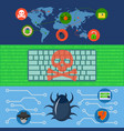 cyber attack world banner concept set flat style vector image