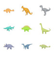 different kinds of dinosaurs icons set vector image