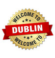 dublin 3d gold badge with red ribbon vector image vector image