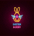 easter bunny neon label vector image vector image
