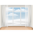 Empty room with large window vector image