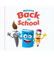 funny cartoon mascots education vector image vector image