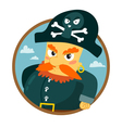Funny pirate character round badge isolated on vector image