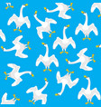 geese on turn blue background vector image vector image