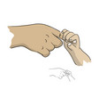 hand of mother holding baby sketch vector image vector image
