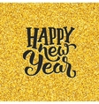 Happy New Year greetings on golden background vector image