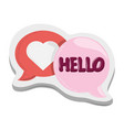 hello love heart bubbles sticker funny cartoon vector image