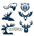 Hunting club icons set of animals vector image vector image