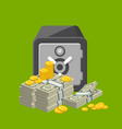metallic safe box with money poster vector image vector image