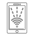 nfc tablet icon outline style vector image