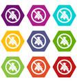 no fly sign icon set color hexahedron vector image vector image
