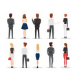 people back view flat set vector image vector image