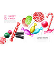 realistic sweet candies collection vector image vector image