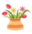 rustic vase with floral bouquet tulips and vector image