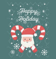 santa face candy canes celebration happy holiday vector image vector image