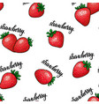 seamless pattern red strawberries with lettering vector image