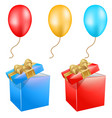 set balls and gift box icons for celebration vector image
