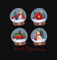 set glass balls with snow and christmas decor vector image