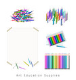 set of assortment of colored pencils crayons vector image