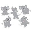 set of cute cartoon elephants vector image vector image