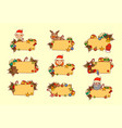 set of hand drawn christmas banners empty for text vector image vector image