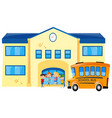 students and school bus in front of school vector image