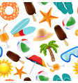 summer seamless pattern various symbols of summer vector image vector image