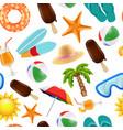 summer seamless pattern various symbols summer vector image vector image