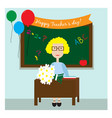 the teacher in the classroom sitting with flowers vector image vector image