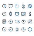 time and clock line icons vector image