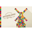 Travel netherlands landmark polygonal windmill vector image vector image
