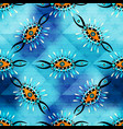 tribal vintage seamless pattern on a blue vector image