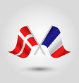 two crossed danish and french flags on silv vector image vector image
