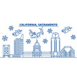 usa california sacramento winter city skyline vector image vector image