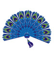 vintage elegant fan with peacock feathers vector image vector image