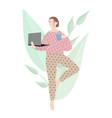woman practices quarantine yoga vector image vector image