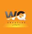 wq w q letter modern logo design with yellow vector image vector image