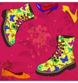 Background with woman shoes vector image