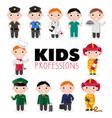 children characters in professional uniform vector image