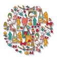 Art handmade objects toys isolate on white vector image