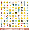 100 interface pictogram icons set flat style vector image vector image