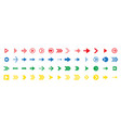 a colourful arrow line set vector image vector image