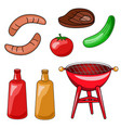 a set of icons of a barbecue of grilling sausage vector image