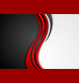 abstract red black grey wavy tech background vector image vector image