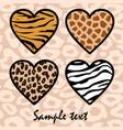 Animal print hearts vector image vector image