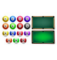 billiard balls with numbers and table set vector image vector image